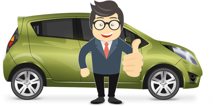Image of car and salesman